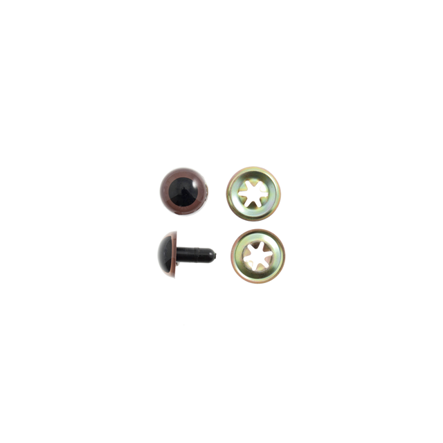 15mm Brown Plastic Safety Eyes