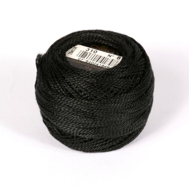 No 8 Black Cotton Perle Ball