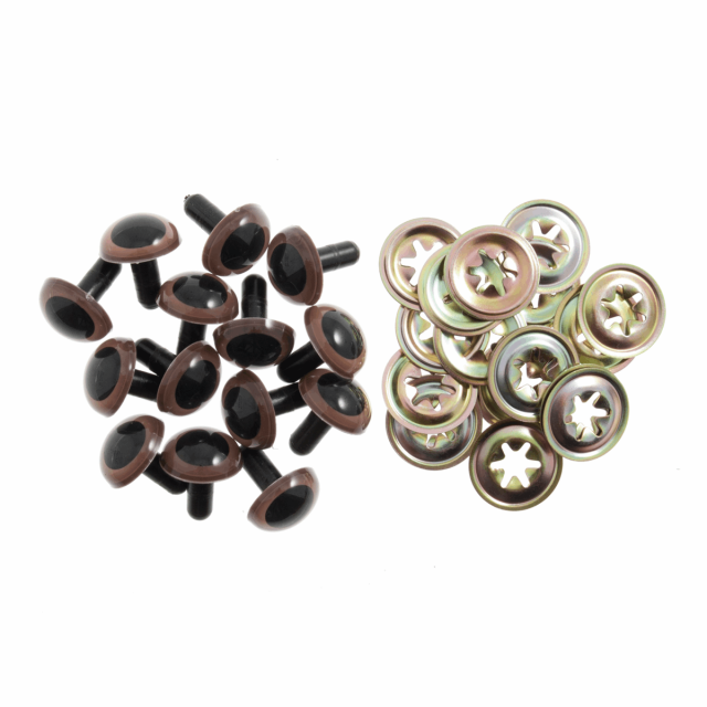 7.5mm Brown Plastic Safety Eyes - Pack of 5 pairs