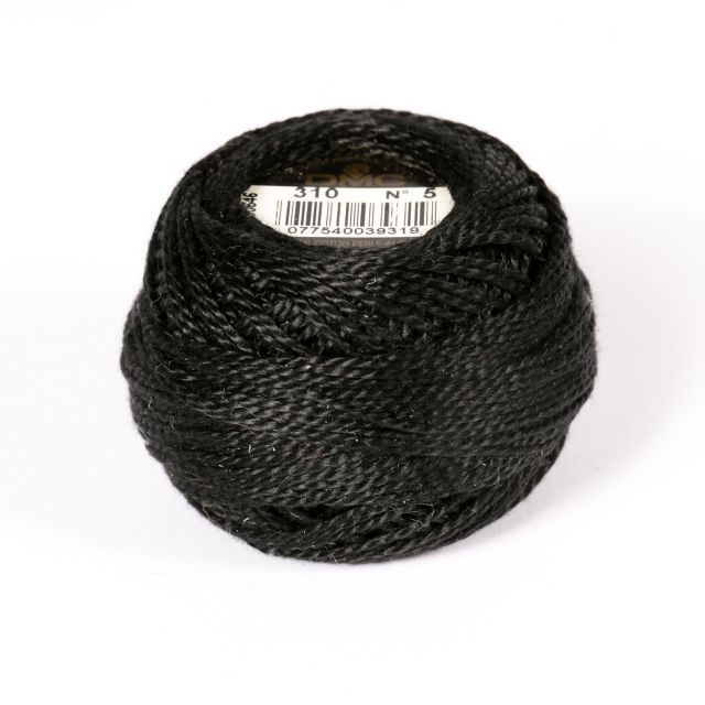 No 5 Black Cotton Perle Ball