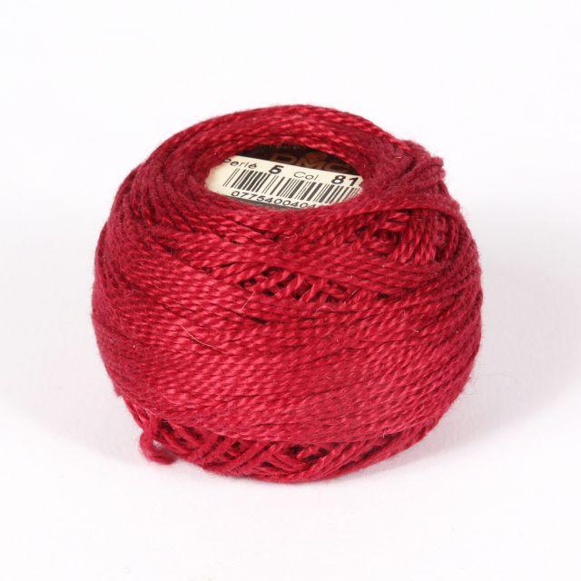 No 5 Dark Red Cotton Perle Ball