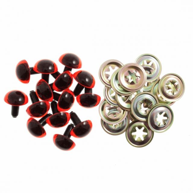 12mm Amber Plastic Safety Eyes - Pack of 5 pairs